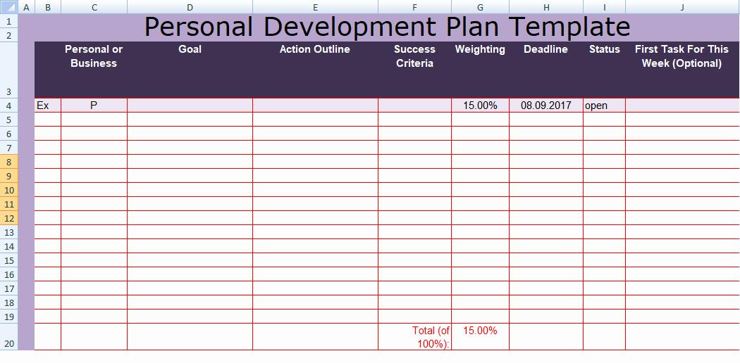 Personal Improvement Plan Template Beautiful Get Personal Development Plan Template Excel