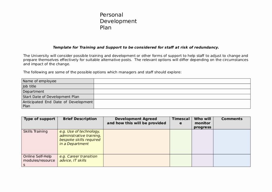 Personal Improvement Plan Template Elegant 2019 Personal Development Plan Fillable Printable Pdf