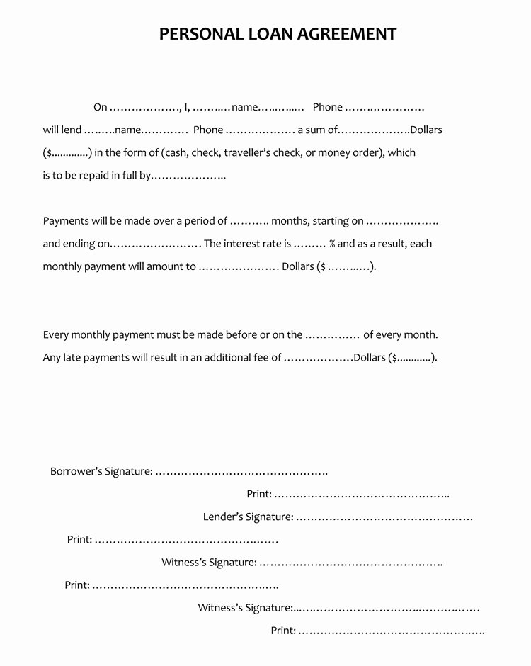 Personal Loan Agreement Template Free Awesome 45 Loan Agreement Templates & Samples Write Perfect