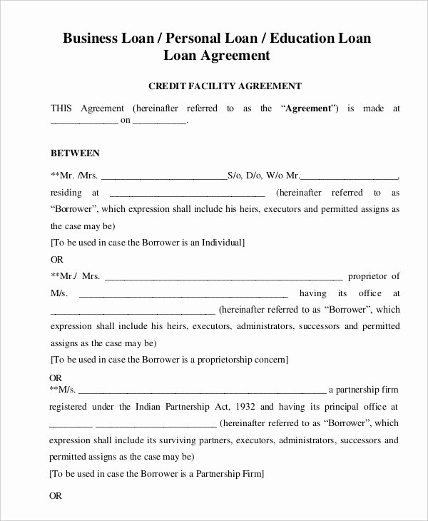 Personal Loan Agreement Template Free Awesome General Loan Agreement Template for Personal Business
