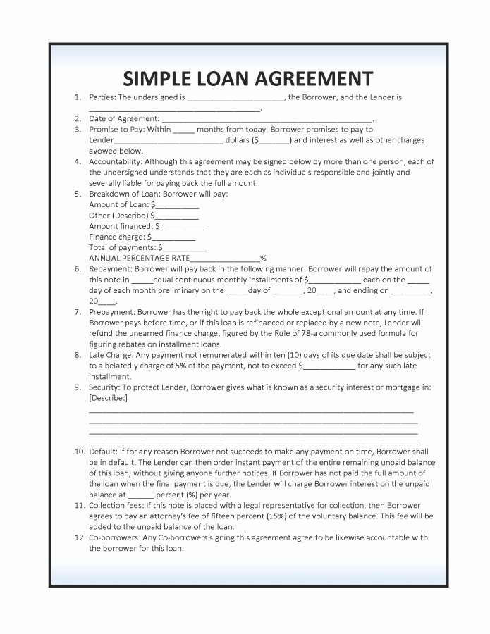 Personal Loan Agreement Template Free Beautiful 14 Loan Agreement Templates Excel Pdf formats