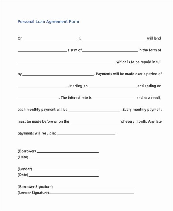 Personal Loan Agreement Template Free Best Of 7 Personal Loan Agreement form Samples Free Sample