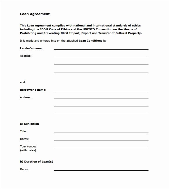 Personal Loan Agreement Template Free Fresh 10 Sample Standard Loan Agreement Templates