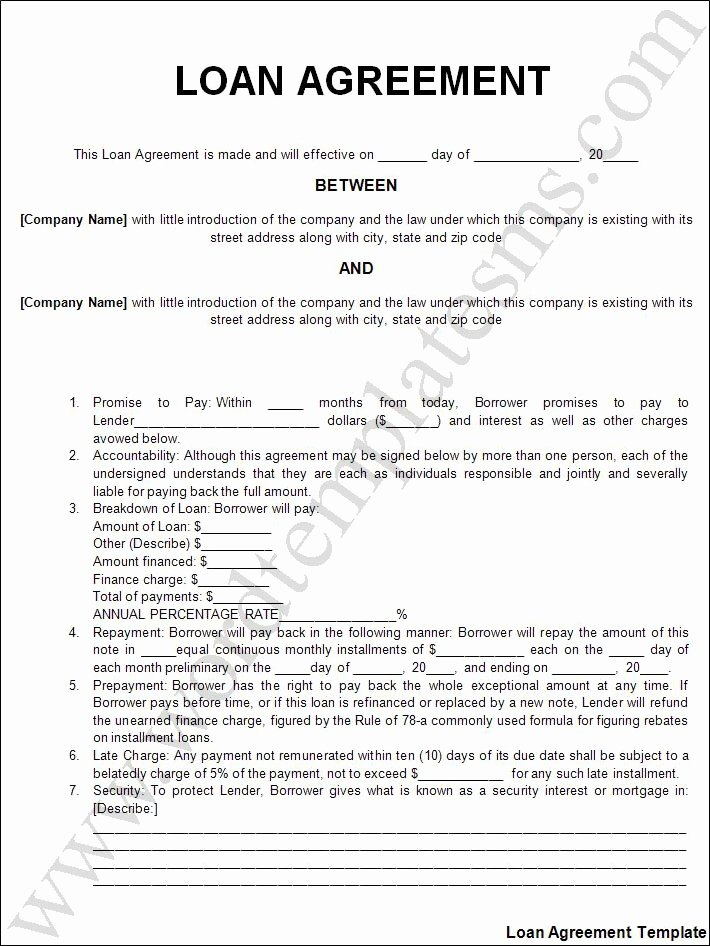 Personal Loan Agreement Template Free Unique Free Printable Personal Loan Agreement form Generic
