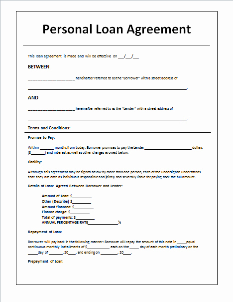 Personal Loan Contract Template Awesome 45 Loan Agreement Templates & Samples Write Perfect