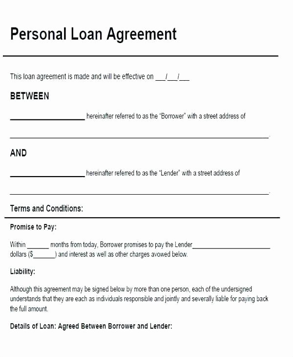 Personal Loan Contract Template Best Of Family Loan Contract Template Picture – Family Loan