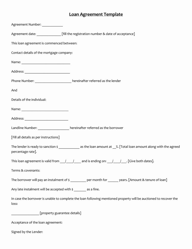 Personal Loan Contract Template Free Luxury 45 Loan Agreement Templates & Samples Write Perfect
