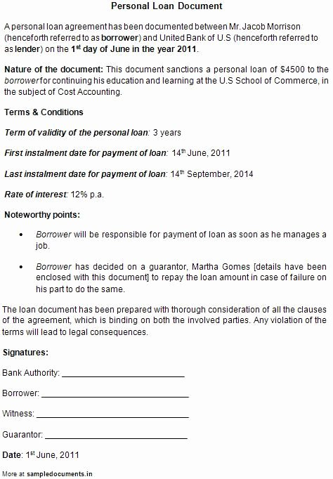 Personal Loan Contract Template Free New Printable Sample Personal Loan Contract form