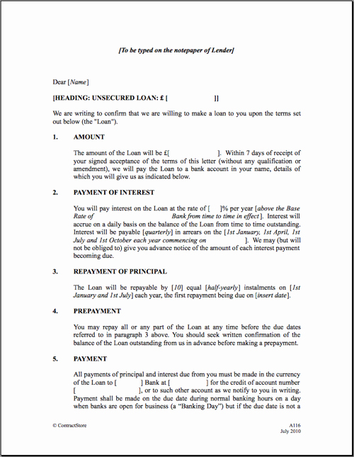 Personal Loan Contract Template Fresh Free Printable Personal Loan Agreement form Generic