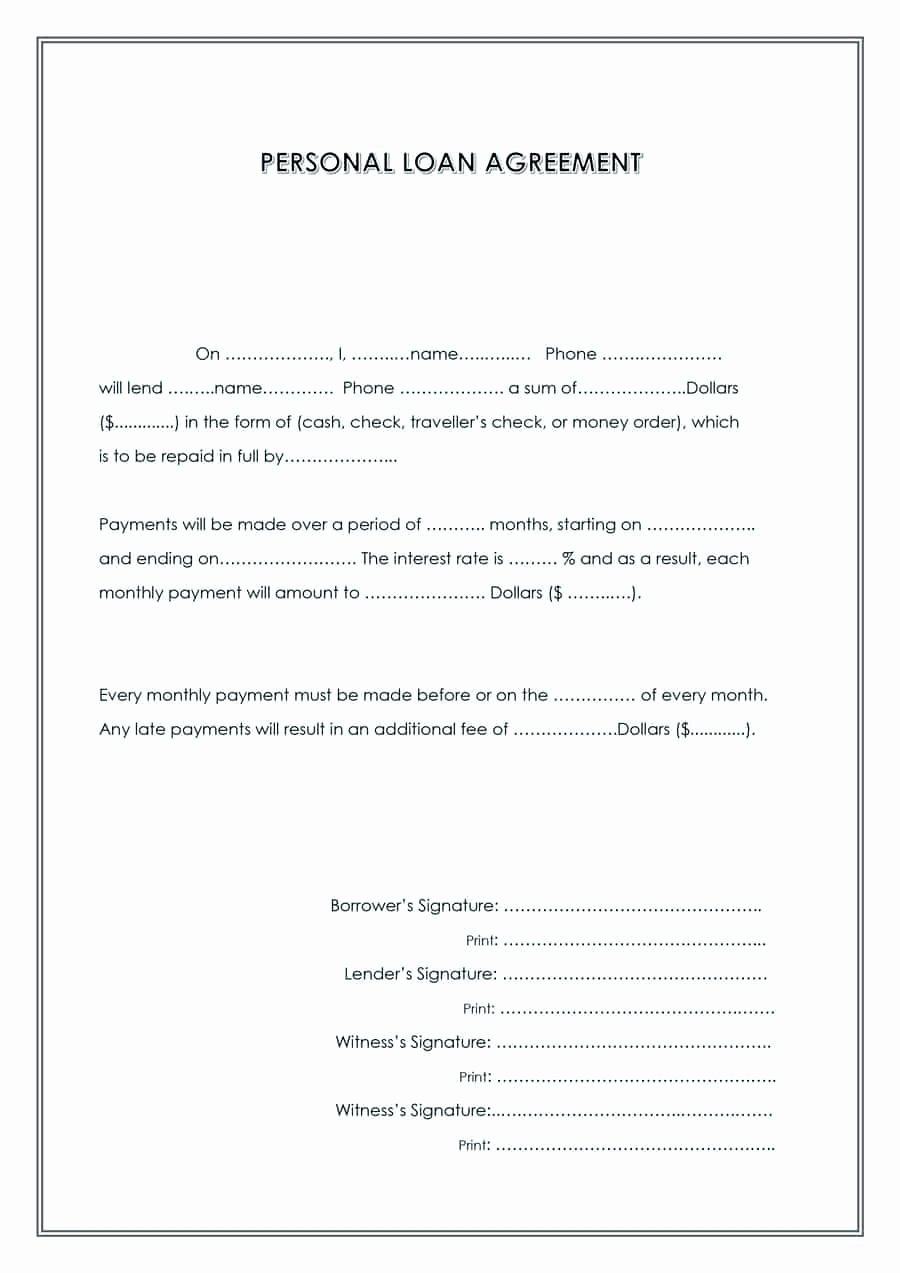 Personal Loan Contract Template Inspirational Template Contract Payment Template