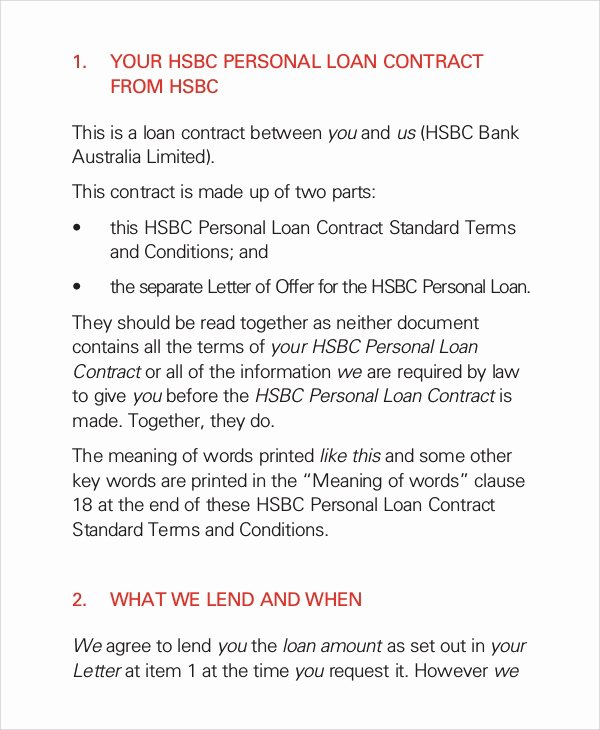 Personal Loan Contract Template Lovely 10 Loan Contract Samples Examples Templates