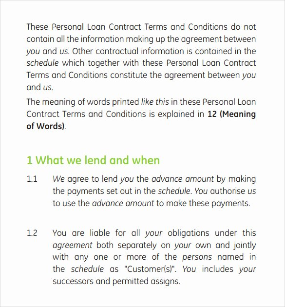 Personal Loan Contract Template Lovely Sample Loan Contract Template 12 Free Documents In Pdf
