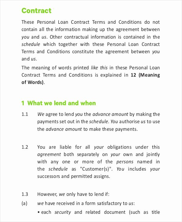 Personal Loan Contract Template Luxury 11 Loan Contract Templates Word Pages