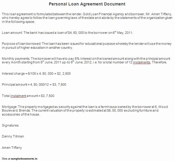 Personal Loan Document Template Awesome Free Printable Personal Loan Agreement form Generic