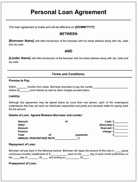 Personal Loan Document Template Inspirational Personal Loan Contract Template