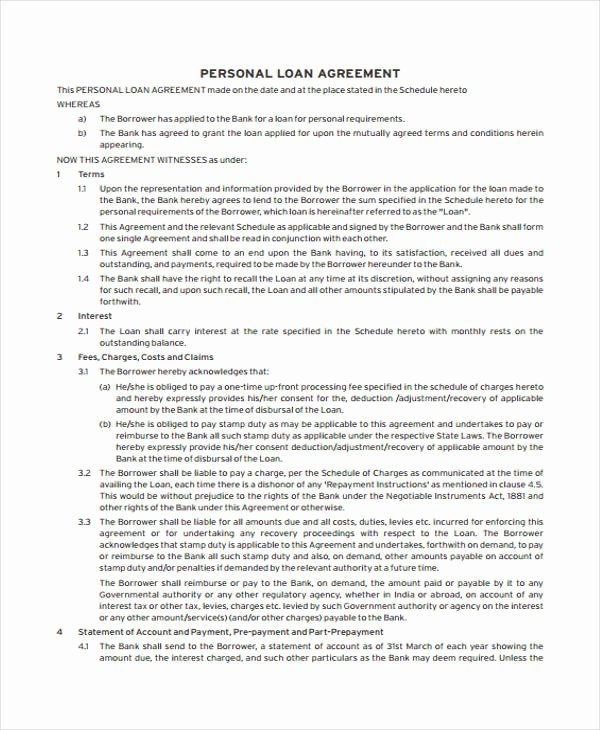 Personal Loan Document Template Luxury Loan Agreement form Example 65 Free Documents In Word Pdf