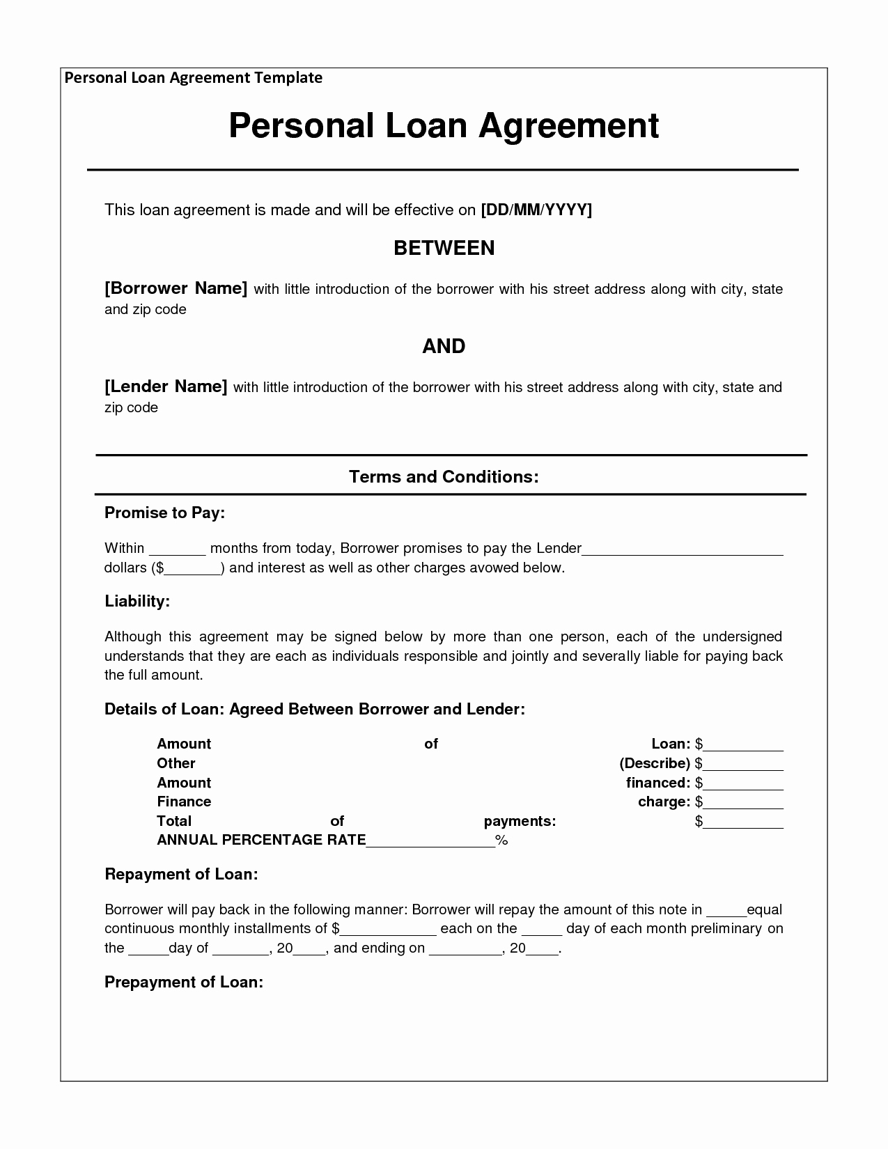 Personal Loan Document Template Unique 14 Loan Agreement Templates Excel Pdf formats