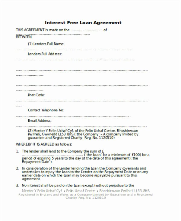 Personal Loan Document Template Unique Loan Agreement form Template