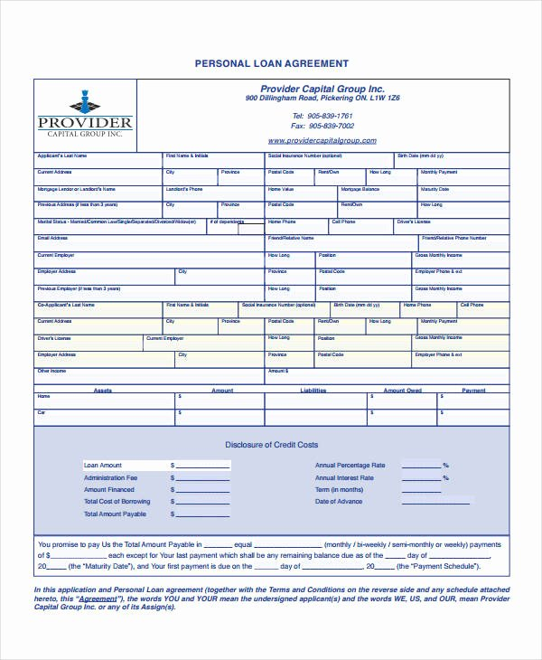 Personal Loan Document Template Unique Personal Loan Agreement 10 Free Pdf Word Documents