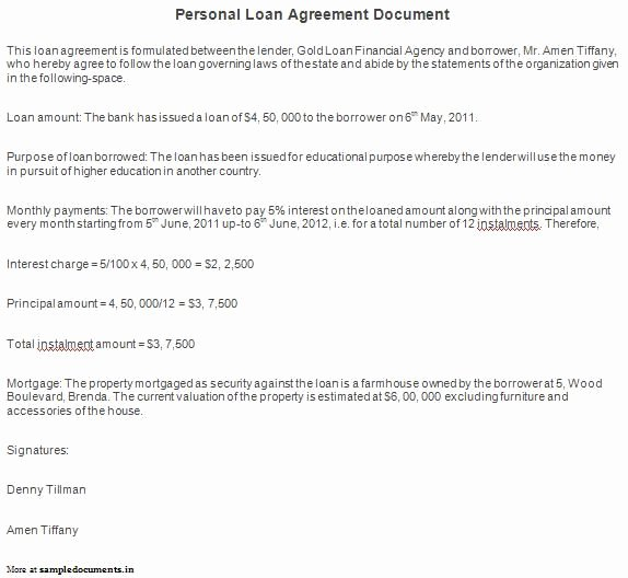 Personal Loan Documents Template Fresh Printable Sample Personal Loan Agreement form