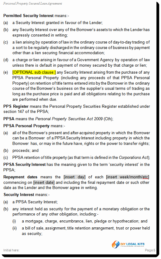 Personal Loan Documents Template Lovely Simple and Secured Loan Agreement Personal Loan Template