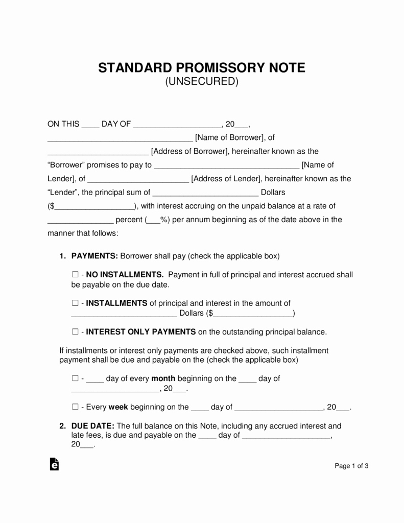 Personal Loan Promissory Note Template Awesome Free Unsecured Promissory Note Template Word