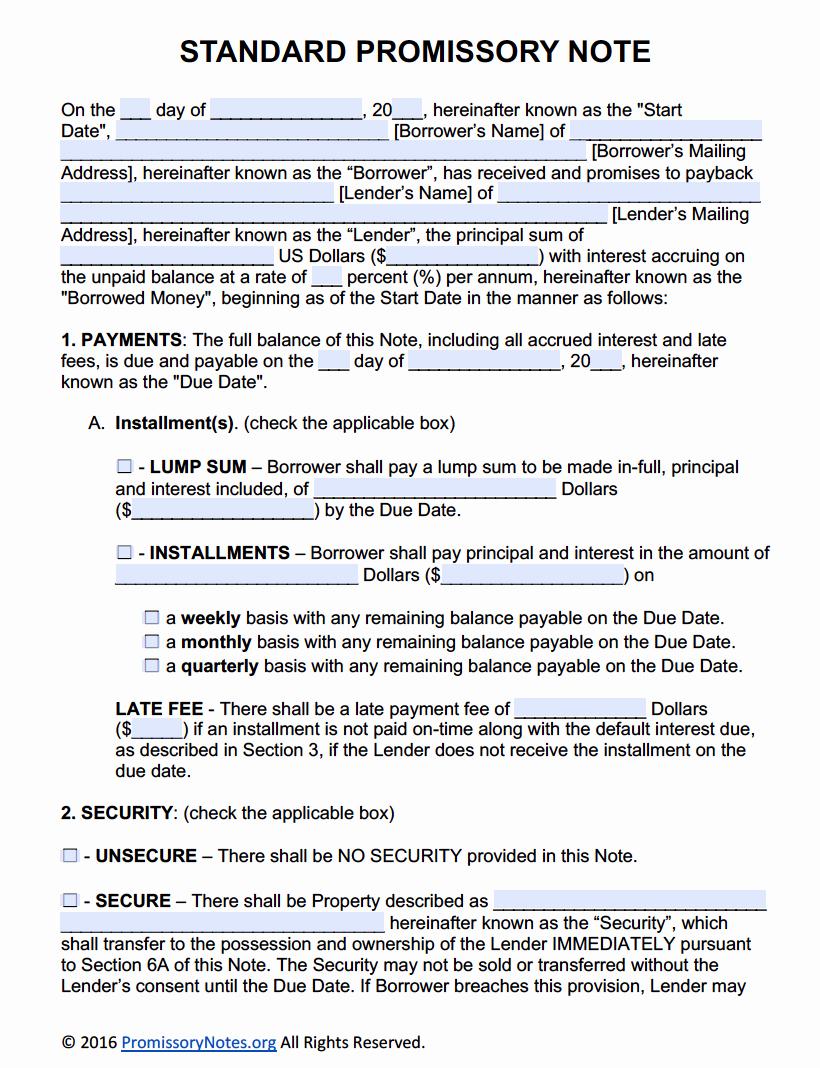 Personal Loan Promissory Note Template Best Of Free Promissory Note Template Adobe Pdf & Microsoft Word