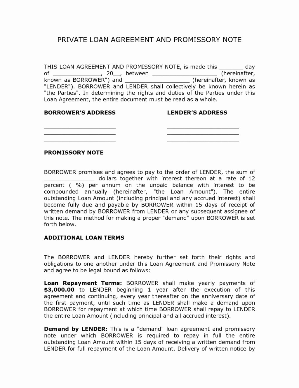 Personal Loan Promissory Note Template Fresh Private Personal Loan Agreement Contract Template and