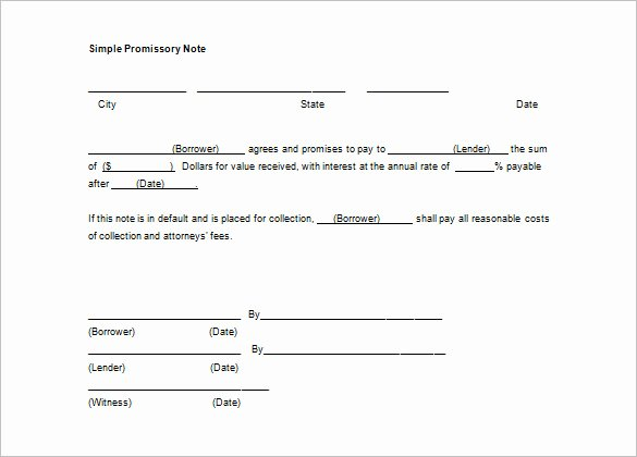 Personal Loan Promissory Note Template Inspirational Simple Promissory Note