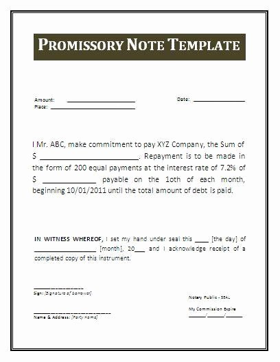 Personal Loan Promissory Note Template Luxury Promissory Note Template