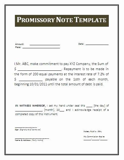 Personal Loan Promissory Note Template Luxury Promissory Note Template