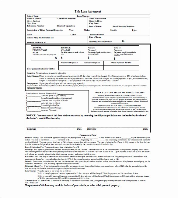 Personal Loan Promissory Note Template New Loan Agreement Templates Car Loan Agreement Template 5