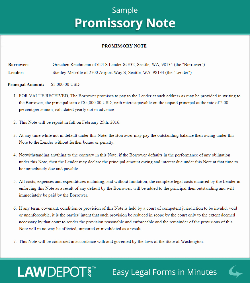 Personal Loan Promissory Note Template New Sample Promissory Note Business Pinterest