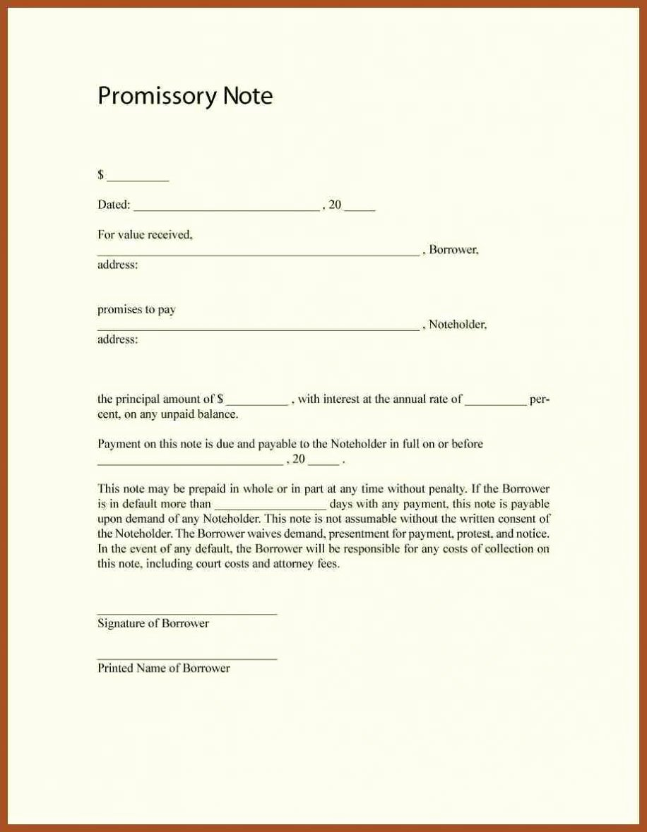 Personal Loan Template Free Beautiful Free Promissory Note Template Word Pdf