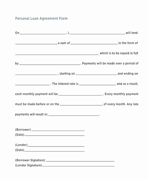Personal Loan Template Free Best Of Interest Free Loan Agreement format – Rightarrow Template