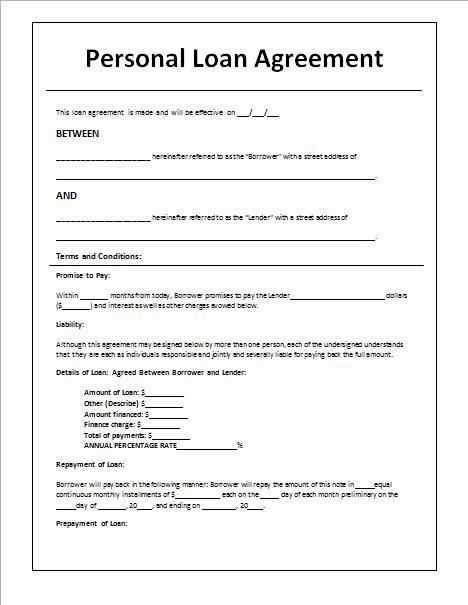 Personal Loan Template Free Elegant 45 Loan Agreement Templates & Samples Write Perfect
