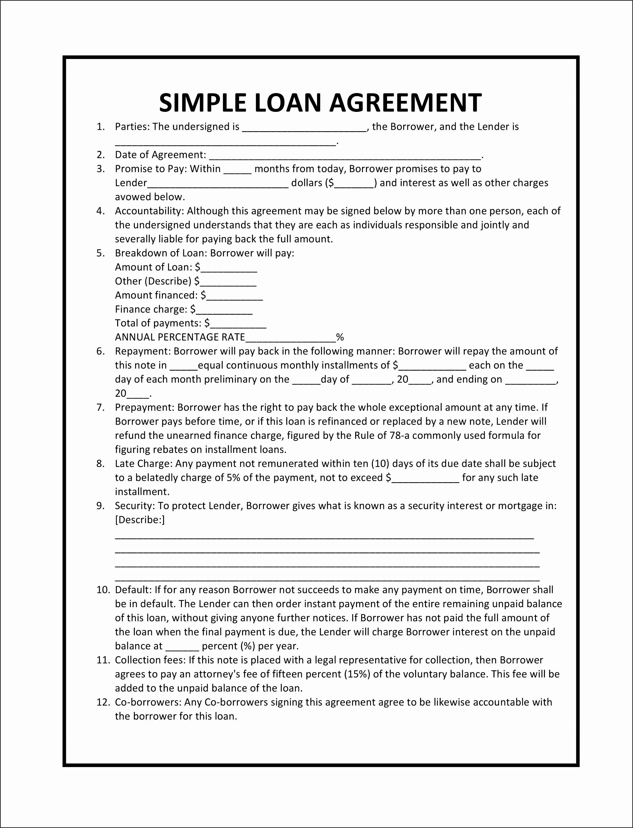 Personal Loan Template Free Inspirational 7 Personal Loan Agreement Template Free Sampletemplatess