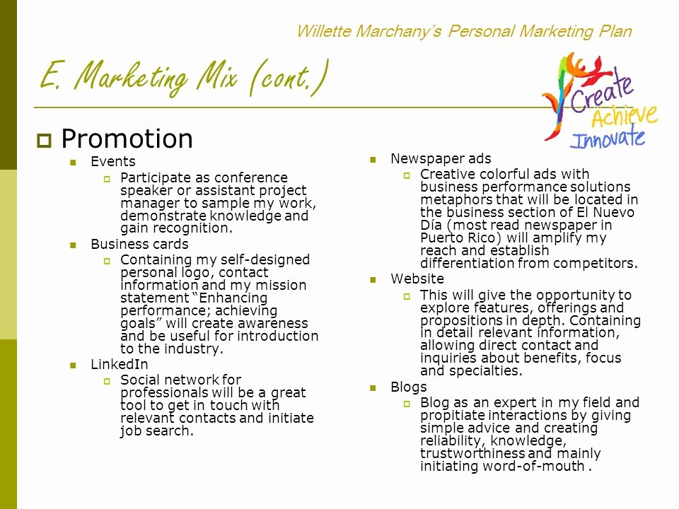 Personal Marketing Plan Template Best Of Willette Marchany's Personal Marketing Plan Ppt Video