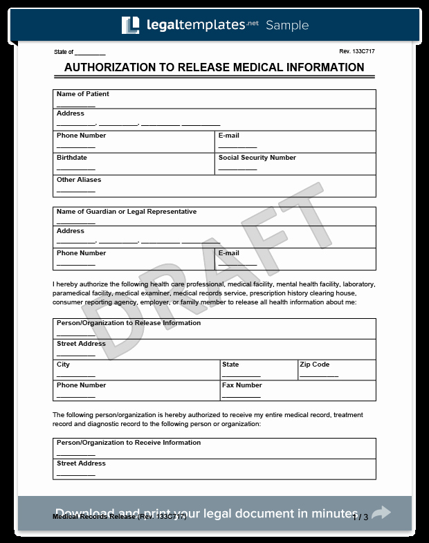 Personal Medical Record Template Fresh Medical Records Release form
