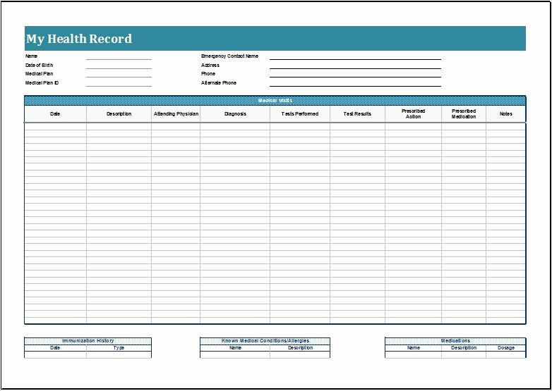 Personal Medical Record Template Inspirational Personal Health Record Sheets