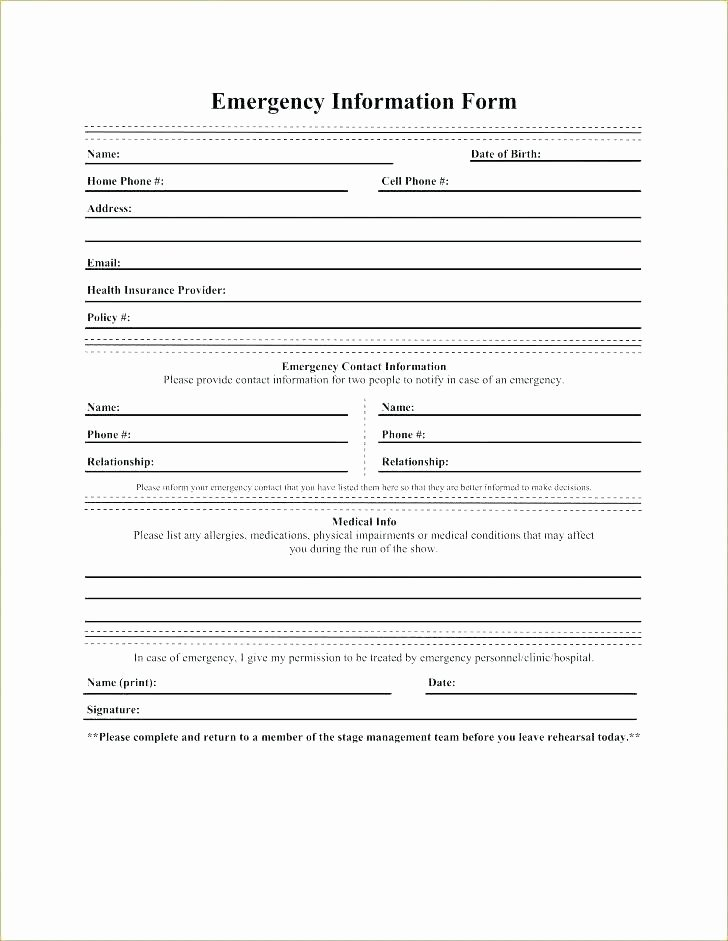 Personal Medical Record Template New Medical Records form Template Personal Record Free