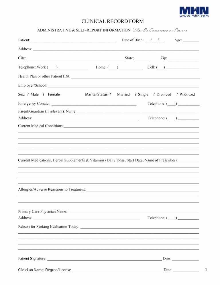 Personal Medical Record Template Unique 10 11 Patient History forms Templates