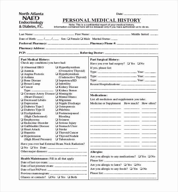 Personal Medical Record Template Unique 21 Sample Medical History forms