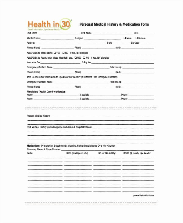 Personal Medical Record Template Unique 50 Sample Medical forms