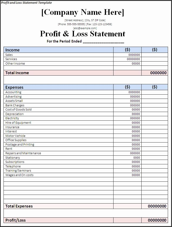 Personal Profit and Loss Template Elegant Printable Blank Profit and Loss Statement Blank Profit