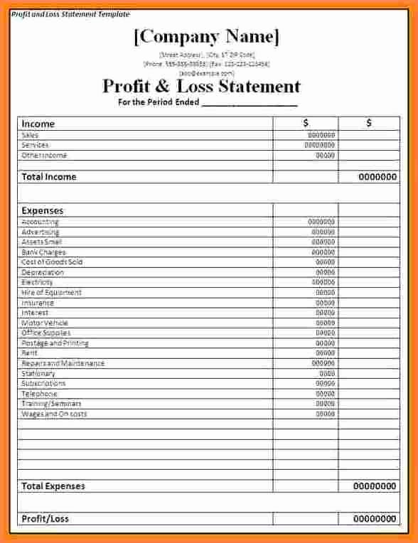 Personal Profit and Loss Template Fresh Image Result for Profit and Loss Statement Self Employed