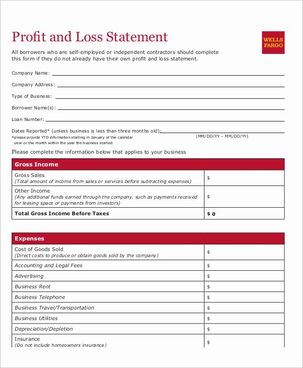 Personal Profit and Loss Template Fresh Self Employed Profit and Loss Statement Template Gallery