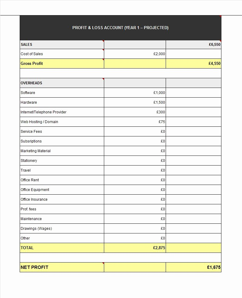 Personal Profit and Loss Template Unique 35 Profit and Loss Statement Templates & forms