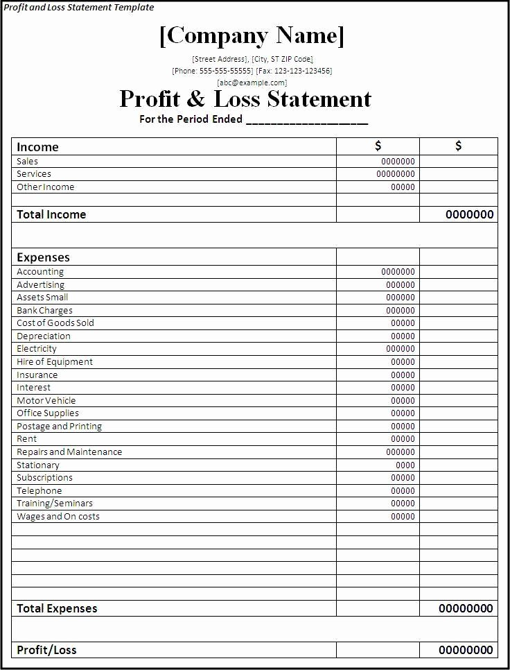 Personal Profit and Loss Template Unique Profit and Loss Statement Template