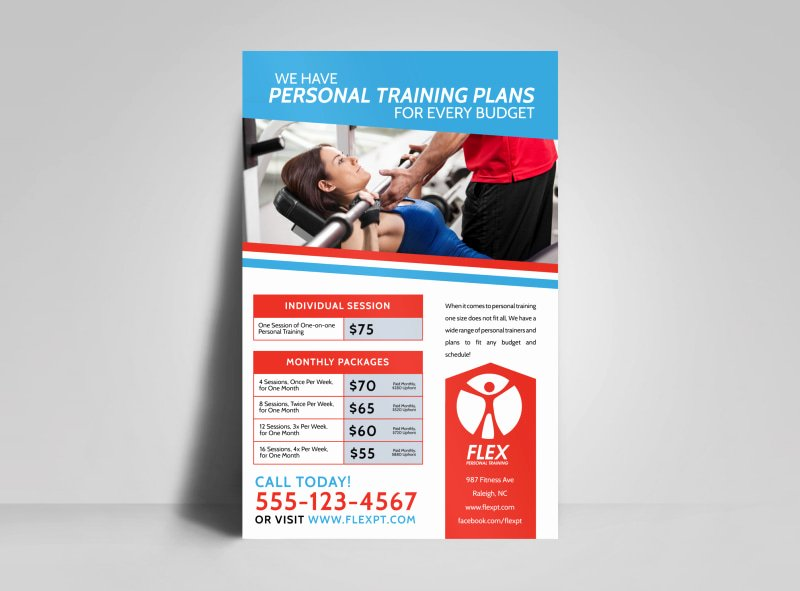 Personal Trainer Flyer Template Luxury Personal Trainer Pricing Poster Template